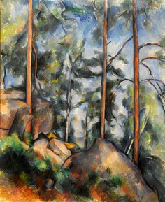 Paul Cézanne ~ Pines and Rocks (Fontainebleau), c.1897