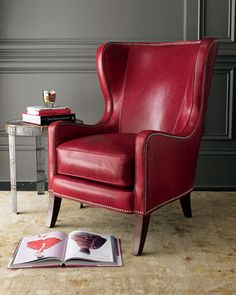 Beau Massoud Red Leather Chair   Neiman Marcus