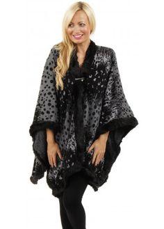 Urban Mist Black Leopard Spots Faux Fur Edge Poncho
