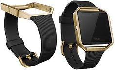 Fitbit Women's Blaze Gold Tone Case and Black Rubber Smart Watch Strap FB159ABGBK