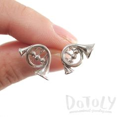 3D French Horn Shaped Music Themed Stud Earrings in Silver   DOTOLY
