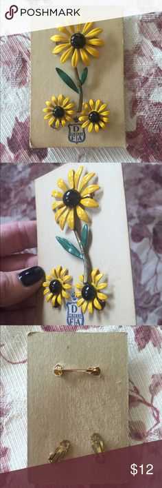 Vintage DuBarry Daisy Enamel Pin Earring Set Daisy Enamel Brooch Earring Set On Original Display Card. Some chipping on stem as shown.  So unique and fun to wear on your fall sweaters.  Just a little touch of color to complete your #OOTD. Vintage Jewelry Brooches