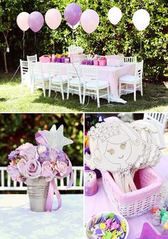 pink and purple princess party kids table and decor