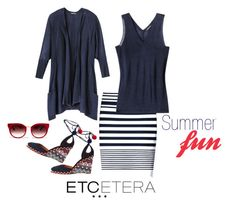 """""""Etcetera: Knits! Cardigan, shell and skirt."""" by etcetera-nyc ❤ liked on Polyvore featuring Etcetera, Aquazzura, Barton Perreira, WorkWear, etceteracollection, etceteranyc and summer2016"""