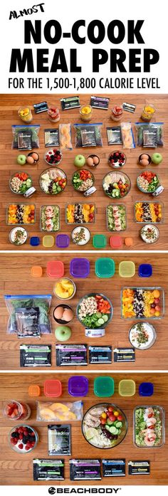 If you're in for some busy weeks ahead, make sure you've got your clean eating covered with this *almost* no-cook meal prep. It follows the Portion Fix eating plan at the 1,500–1,800 calorie level. Super easy, super fast, super healthy! // recipes // clean eating // no cook // meal prep // meal prepping // meal planning // meal plans // healthy // ideas // weight loss // easy // simple // motivation // containers // 21 Day Fix // Autumn Calabrese // Beachbody // BeachbodyBlog.com