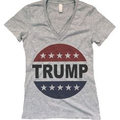 Retro Vote Trump 2016 Womens Bella-Canvas v-Neck Womens Make America... (€24) ❤ liked on Polyvore featuring tops, t-shirts, silver, women's clothing, retro tees, canvas shirts, fitted shirts, fitted tee-shirt and tee-shirt