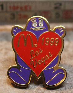 McDonalds Grimace Las Vegas Heart 1999 Collectible Pinback Pin Button #McDonalds