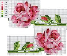 Pink Roses with a colour chart. Small Cross Stitch, Cross Stitch Needles, Cross Stitch Rose, Cross Stitch Flowers, Cross Stitch Charts, Cross Stitch Designs, Cross Stitch Patterns, Cross Stitching, Cross Stitch Embroidery