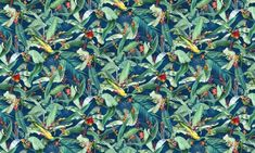 Macaw Midnight  100% Cotton  Approx. 280cm Drop (Railroaded) | V: 66cm  Dual Purpose 20,000 Rubs Stuart Graham, Color Of The Year, Pantone Color, Arabesque, All Design, Spring Time, Orchids, Summertime, Plant Leaves
