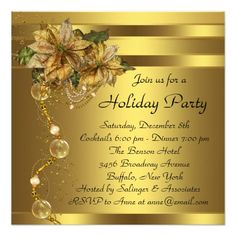 Holiday tea party invitation pinterest elegant gold poinsettia black gold christmas party invitation christmaspartyinvitations christmasparty corporatepartyinvitations corporatechristmas stopboris Images