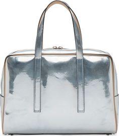 Calvin Klein Collection Silver Metallic Leather Briefcase