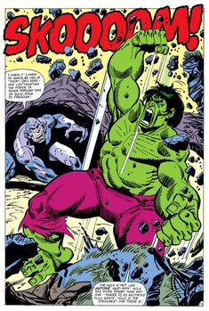 Absorbing Man (Carl Creel) vs. Hulk (Dr. Bruce Banner) (Savage Hulk persona) | art by Sal Buscema