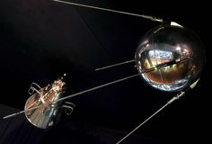 Sputnik: The Soviet Union launched the first Sputnik satellite on October, 4 1957, ushering in the age of space exploration and kicking off an intense space race with the United States. http://www.history.com/photos/space-race/photo1