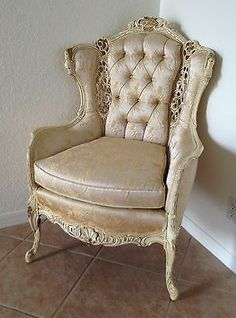 Antique Carved Wood Victorian Wingback Chair