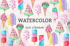 Watercolor Icecream by Elena Neculae on @creativemarket