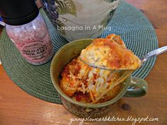 Ginny's Low Carb Kitchen: LASAGNA IN A MUG, LC, GF (S) - I simplified by skipping bottom sauce, mixing cheese and spices in mug, then layering meat (I used browned ground beef) sauce then top with cheese. That way I only have one dish to wash! Microwave Mug Recipes, Low Carb Recipes, Snack Recipes, Cooking Recipes, Healthy Recipes, Snacks, Microwave Meals, Cooking Stuff, Free Recipes