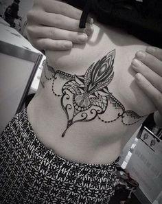 Татуировки под грудью | 96 фотографий