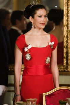Crown Princess Mary wearing her Wedding Tiara and her wedding pearl and diamond earrings
