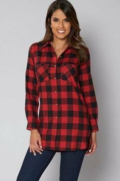 8033b6f2948 Be You Long Sleeve Check Shirt Red/Blk Size UK 14 rrp 25 DH180 RR