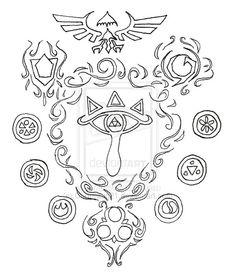 Legend of Zelda Ocarina of Time tattoo design by on . Zelda Tattoo, Time Tattoos, Tattoo Designs, Tattoo Ideas, Legend Of Zelda, Symbols, Art, Tatuajes, Art Background