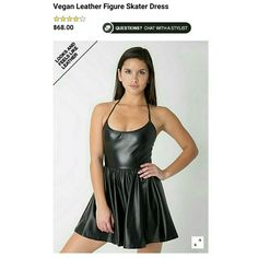 AA Vegan Leather Figure Skater Dress Short and Extra soft leatger Dress. Featuring a halter neck and shirred skirt. 60% polyester 40% Polyurethane. It has a neck tie so that you can adjust. Very Form fitting. Worn once for a few hours. No flaws. Like new. American Apparel Dresses