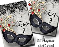 Wedding Masquerade Table Numbers Wedding by TheInspiredEdge Masquerade Party Invitations, Masquerade Party Decorations, Masquerade Wedding, Masquerade Ball, Wedding Invitations, 60th Birthday Decorations, 50th Birthday, Birthday Parties, Birthday Ideas