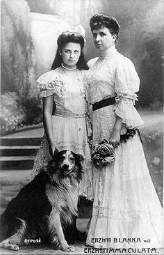 Infanta Blanca of Spain (1868 –1949), Archduchess of Austria with her second daughter Archduchess Archduchess Immaculata of Austria ( 1892 – 1971)