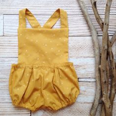 Boho baby clothes girls mustard yellow romper bloomers suspenders overalls…