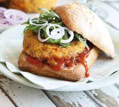Sweetcorn & sweet potato burgers recipe - Recipes - BBC Good Food For uk pinterester's they'll be no horse in these!!!!