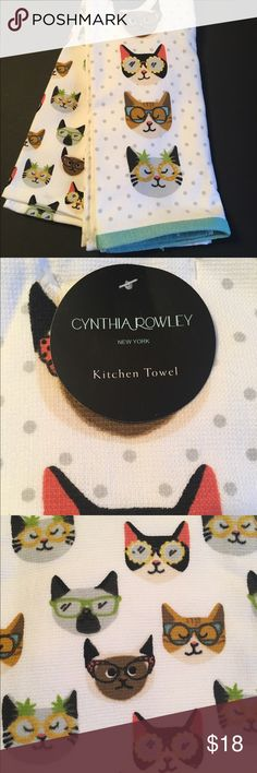 Cynthia Rowley Cats In Glasses Kitchen Towels Cynthia Rowley Kitchen Towels  Set Of 2 Cats Wearing