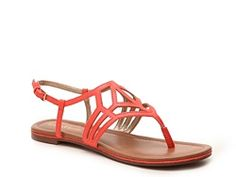Kelly & Katie Peyton Flat Sandal in Coral | DSW • coral flat sandals. gladiator sandals.