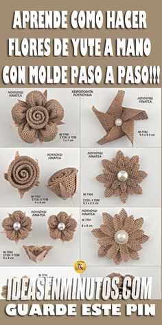 Learn how to make Jute Flowers by hand with Mold step by step Make Flowers of … Jute Flowers, Felt Flowers, Diy Flowers, Fabric Flowers, Burlap Bow Tutorial, Flower Tutorial, Diy Crafts Vintage, Easy Diy Crafts, Homemade Headbands