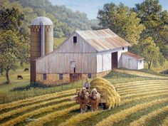 Making Hay by John Sloane. Team of Belgians pulling a loaded hay wagon with white barn in the background.