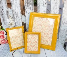 Marigold Painted Frames - Set of 3 Painted Shabby Chic Frames, Dark Mustard Yellow on Etsy, $39.00