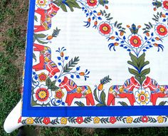 Vintage Dala Tablecloth Scandinavian Horse Table by hensfeathers, $48.00