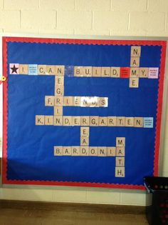 This Scrabble Inspired Welcome Board! is just one of our many bulletin board ideas. We have thousands of fun and unique teaching ideas that are great for the classroom and at home! Scrabble Bulletin Boards, Friends Bulletin Board, Bulletin Board Tree, Bulletin Board Design, Teacher Bulletin Boards, Back To School Bulletin Boards, Classroom Bulletin Boards, Scrabble Wall, Classroom Door