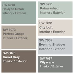 Palette decided for house paint Sherwin Williams perfect greige