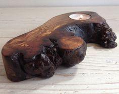 Wood Tealight holder, candle holder, Scottish elm wood, burr elm, wooden, handmade, unique, natural, tealight, interesting gift (item 153)