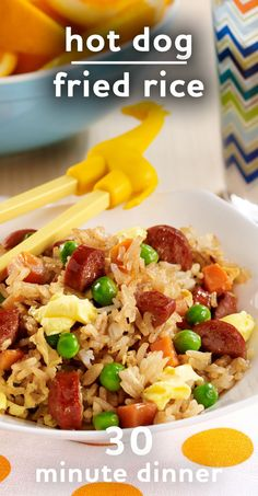Kids Meals Easy Kid-Friendly Dinner: Hot Dog Fried Rice - Fried rice with hot dogs starts with prepared rice combined with peas, carrots, frank pieces and scrambled Egg Beaters for a quick weeknight recipe Hot Dog Recipes, Baby Food Recipes, Dinner Recipes, Cooking Recipes, Healthy Recipes, Rice Recipes For Kids, Dinner Ideas, Meal Recipes, Easy Cooking