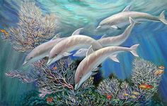 Happy Family. Dolphins Are Awesome Painting