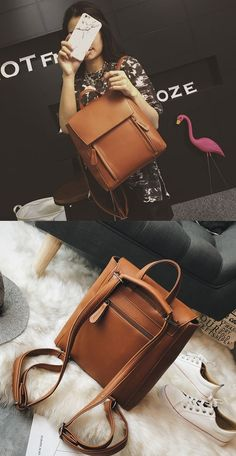 Leisure Simple Pure Color Student Bag Large Multi-function Shoulder Bag School Backpack #bag #backpack Retro Backpack, School Backpacks, Large Bags, School Bags, Fashion Backpack, Student, Shoulder Bag, Pure Products, Simple