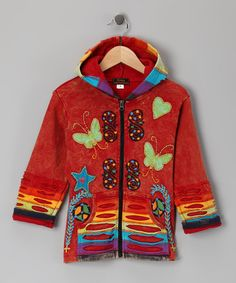 Another great find on #zulily! Red Rainbow Butterfly Zip-Up Hoodie - Toddler & Girls #zulilyfinds