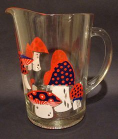 Vintage Glass Pitcher with Mushroom Design by Dust2Den on Etsy, $20.00