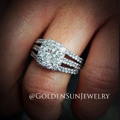 GOLDEN SUN JEWELRY: Beautiful radiant cut diamond engagement ring. Featuring a diamond halo on a three row split band. #wedding #engagement #engaged #ring #engagementring #pretty #diamondring #diamonds #idealcut #flawless #fashion #fashionista #designer #gia #jewelry #jeweler #certified #carat #bridal #marriage #bride #detroit
