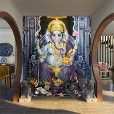 beibehang papel de parede para quarto em 3d Southeast Asian Style yoga room mural wallpaper Indian elephant god mural wallpaper