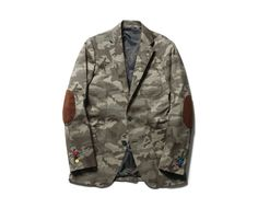 SOPHNET. CAMOUFLAGE 3 BUTTON JACKET