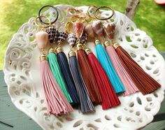 FREE SHIPPING Cone Shell Keychain with Leather by BeachBabeHawaii, $25.00