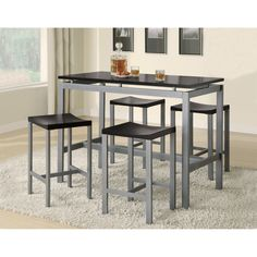 Coaster Furniture Atlus 5 Piece Counter Height Table Set   from hayneedle.com