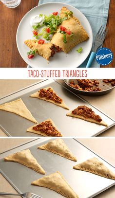 These Taco-Stuffed Triangles are a great Taco Tuesday weeknight meal. Made with our Pillsbury crescents, it's a fresh and easy take on tacos. Your family will love biting into their very own triangle.