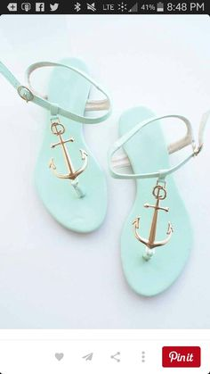 a787d73ea2dc Mint and gold anchor sandals! Someone get me these for my birthday! Nike  Shoes
